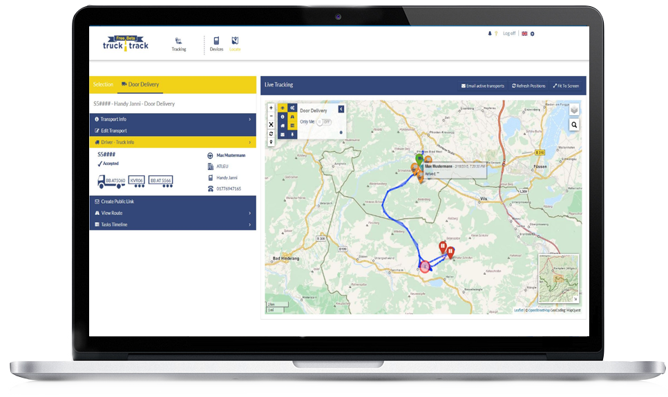 The TruckTrack GPS Fleet Tracking Solution requires simply a PC & a smartphone
