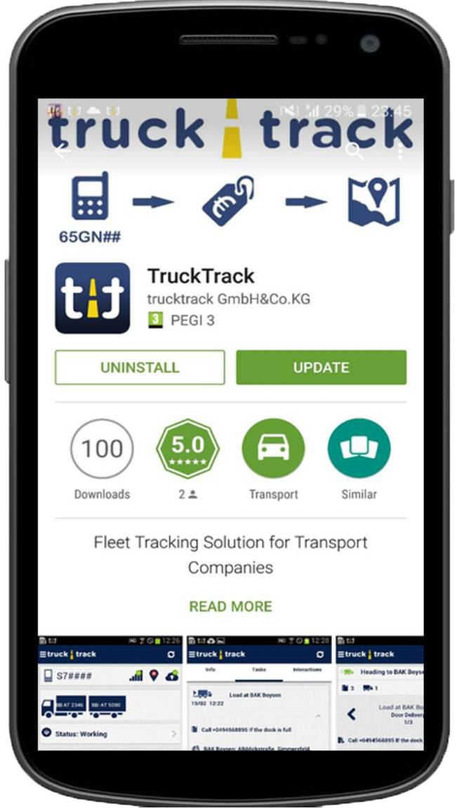 To use TruckTrack the driver just installs the free Android Truck GPS App on his smartphone